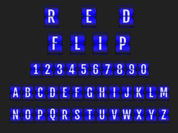 Vector of stylized blue flip board alphabet vector art illustration