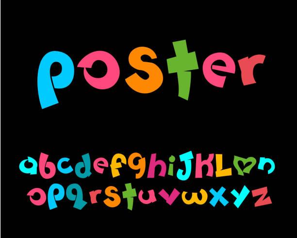 ilustraciones, imágenes clip art, dibujos animados e iconos de stock de vector de alfabetos juguetones estilizados - tipos de letra de historietas
