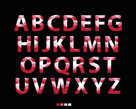 Vector of stylized red font and alphabet