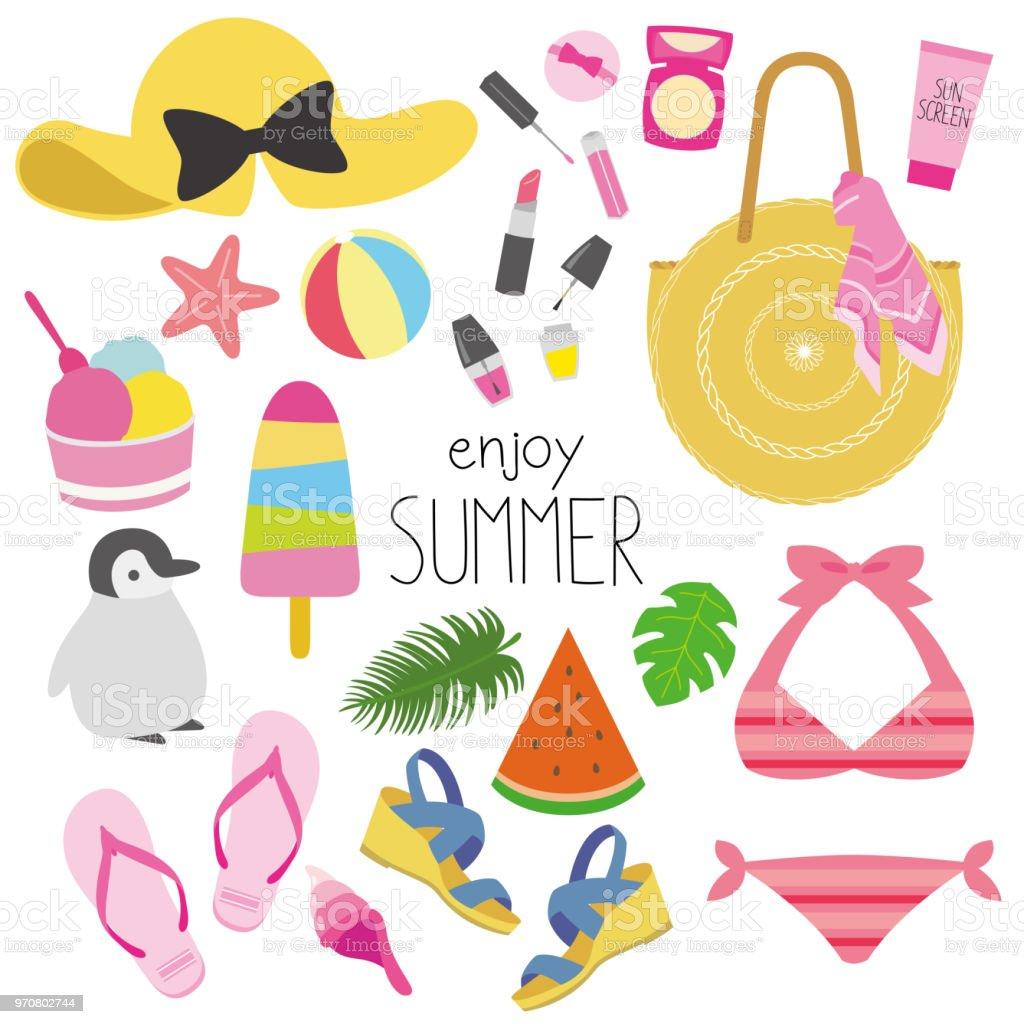 ファッション イラスト夏のベクトル アイコンセットのベクターアート