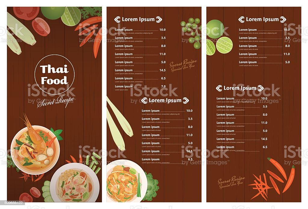 Vector Of Thai Foods Restaurant Menu Template Stock Vector Art