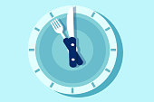 Vector of the clock face in the form of plate with knife and fork arms.