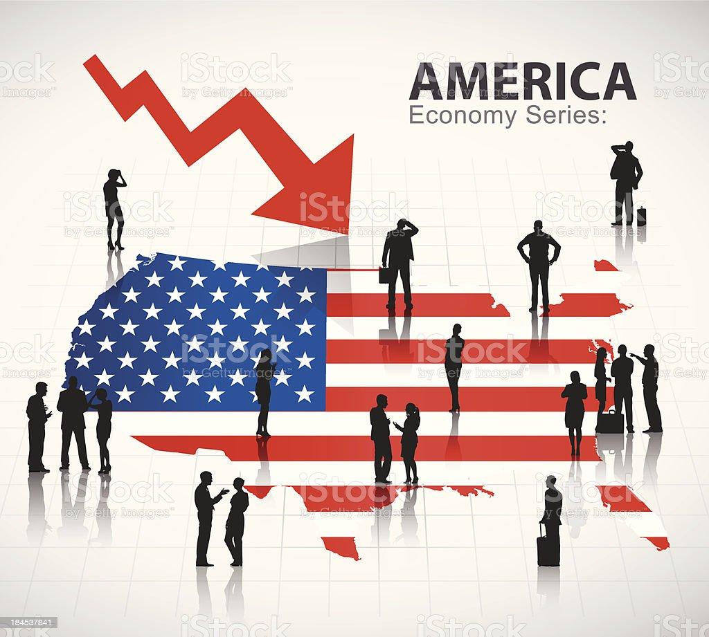 Vector of The U.S. economic crisis vector art illustration