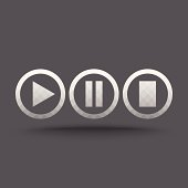 Vector of transparent play, pause and stop button icon on isolated background