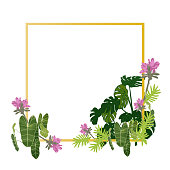 Vector of tropical flowers in gold gredient frame background to do greeting card illustration.