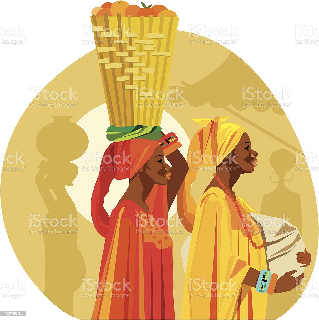 Vetor de duas mulheres africanas Carregando frutas sobre sua cabeça. - ilustração de arte em vetor