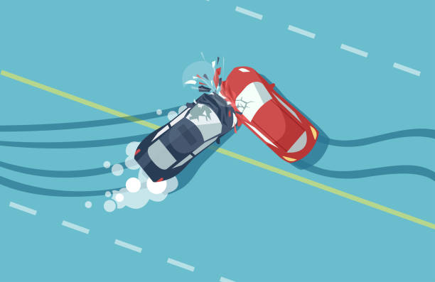 Vector of two car accident top view of vehicle collision on blue background Vector of two car accident top view of vehicle collision on blue background damaged stock illustrations