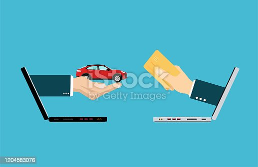 istock Vector of two hands coming out from laptops exchanging money for a car 1204583076