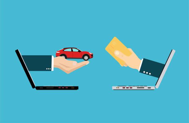 вектор двух рук, выходят из ноутбуков, обменивая деньги на автомобиль - credit card stock illustrations