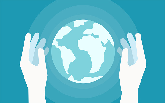 Vector of two hands holding Earth