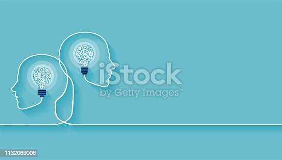 Vector of two human heads made of gears with light bulb shape inside. Innovation technology and new idea generation concept