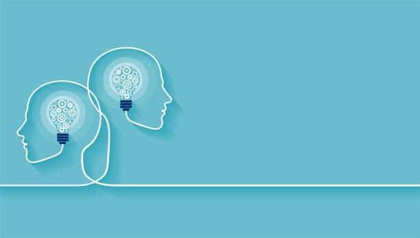 вектор из двух человеческих голов из шестерни с формой лампочки внутри. - понятия и темы stock illustrations