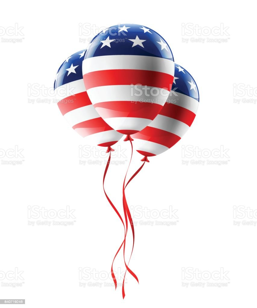 Vector of USA balloons with American flag isolate on white background for American Labor Day,Memorial Day or Independence day. vector art illustration