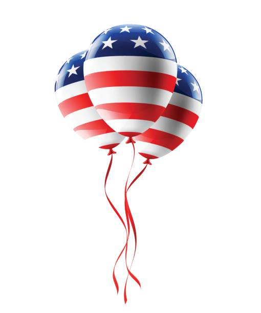 Vector of USA balloons with American flag isolate on white background for American Labor Day,Memorial Day or Independence day. Vector of USA balloons with American flag isolate on white background for American Labor Day,Memorial Day or Independence day. circa 4th century stock illustrations