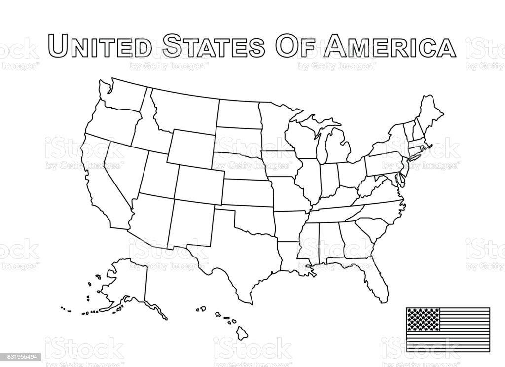 Vector of USA map and american flag . Outline style vector art illustration