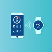 Fitness tracker app concept. Vector of user interface for smartwatch and smartphone being synchronized