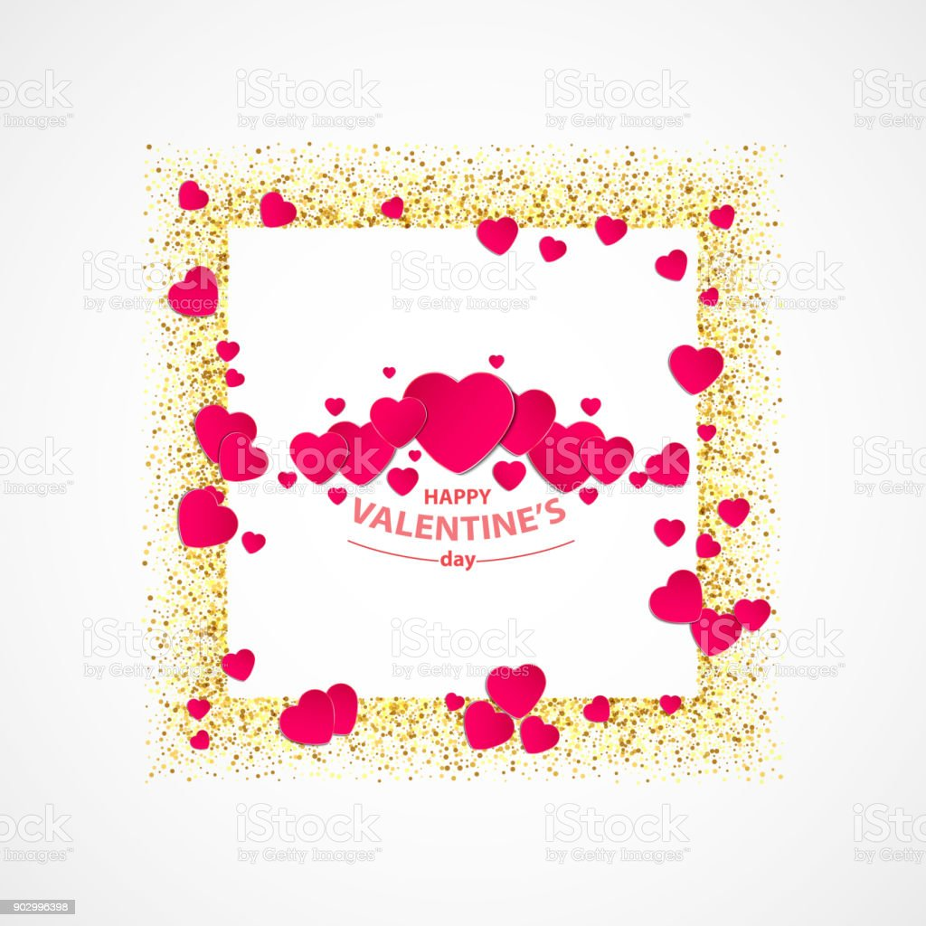 Vector Of Valentines Day Greeting Card With Gold Glitter Heart Gold ...