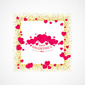 vector of Valentines day greeting card with gold glitter heart, gold frame, couple of red hearts and words happy Valentines day