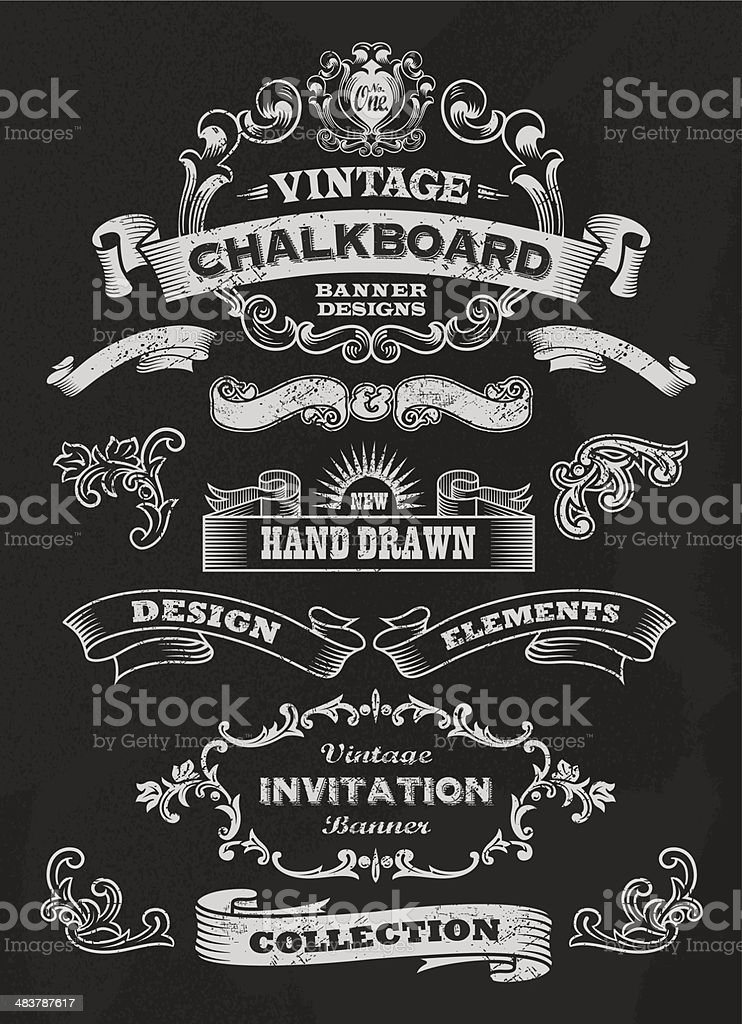 Vector of vintage chalkboard banners and ribbons vector art illustration