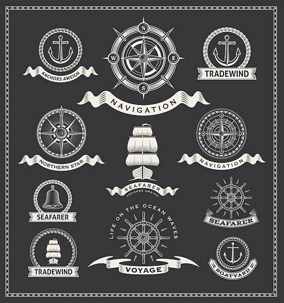 Vector of vintage compass nautical marine labels vector art illustration