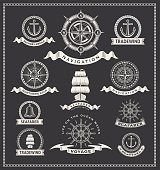 Vector of vintage compass nautical marine labels