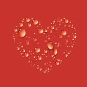 Vector of water drop in shape heart on red background