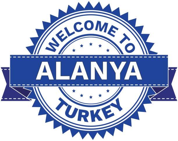vektor der stadt alanya land türkei willkommen. stempel.  aufkleber. eps8. - alanya stock-grafiken, -clipart, -cartoons und -symbole