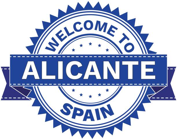 vektor der stadt alicante land spanien willkommen. stempel.  aufkleber. eps8. - alicante stock-grafiken, -clipart, -cartoons und -symbole