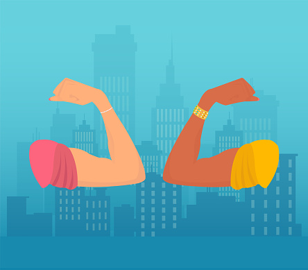 Vector of white and black women flexing their arms biceps showing strength and courage