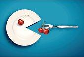 Vector of white plate eat cherry