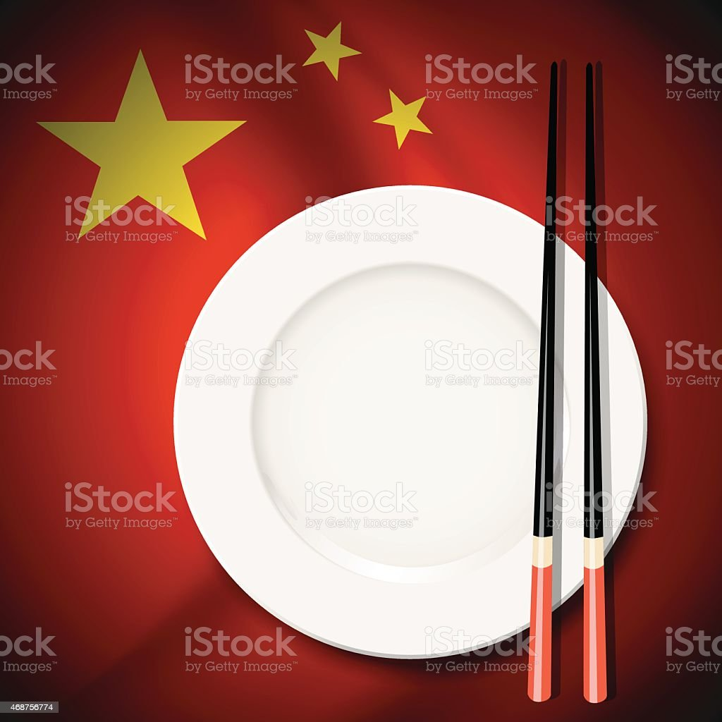 Vector of White plate with chopsticks on Chinese flag background