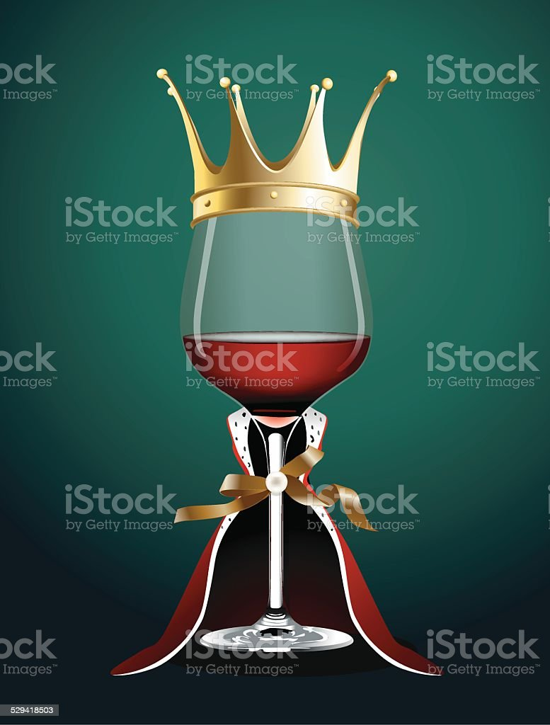 Vector of Wine glass in Princess Cloth vector art illustration