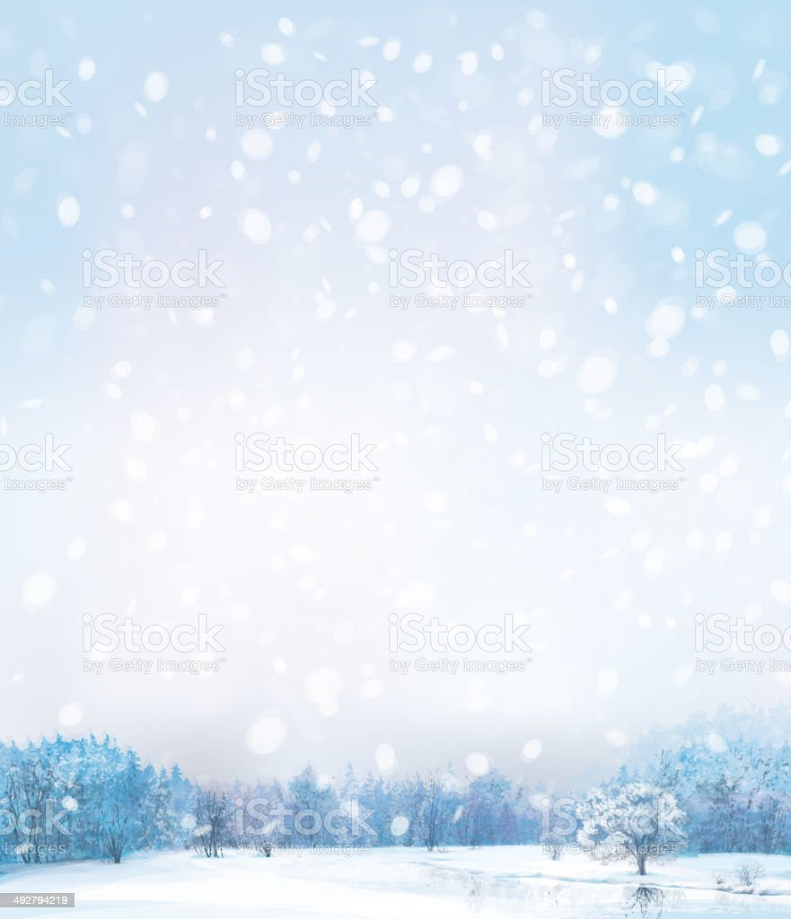 Vector of winter scene with forest background. vector art illustration