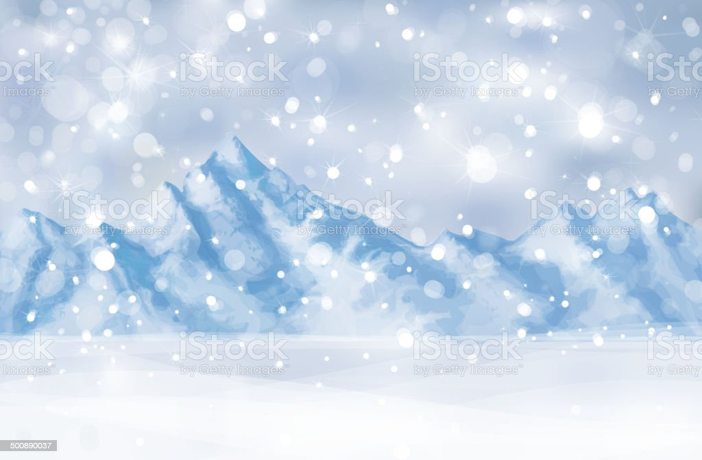 Vector of winter scene with mountain background. vector art illustration
