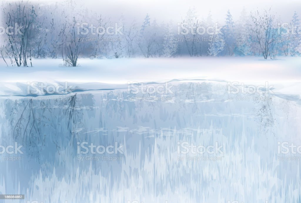 Vector of winter scene with river and forest background. vector art illustration