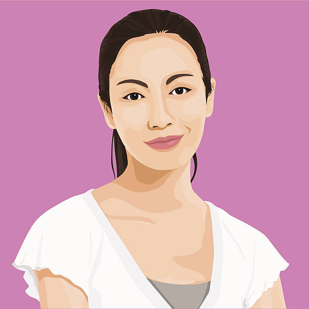 Vector of Wise Lady Portrait  asian woman stock illustrations