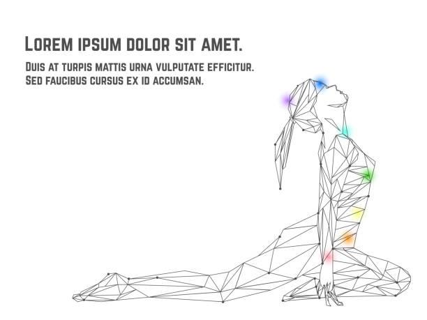 illustrazioni stock, clip art, cartoni animati e icone di tendenza di vector of woman practicing yoga asana made from polygon and dots technic. - balance graphics