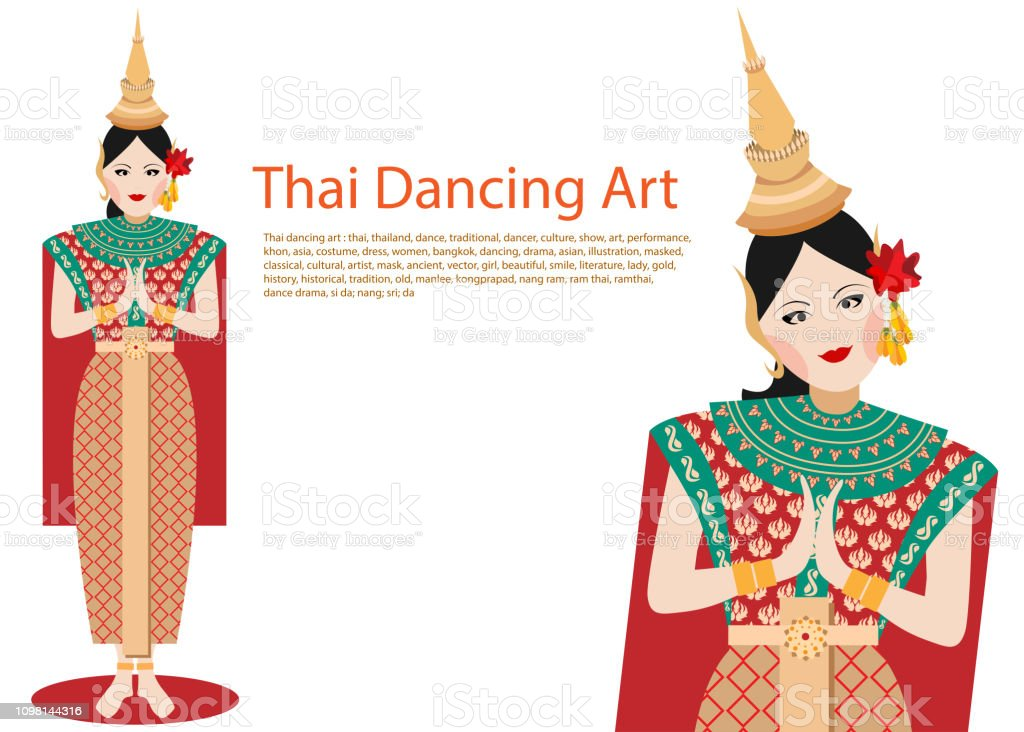 5fc2fed5d vector of woman thai traditional dancing art or ram thai on white  background royalty-free