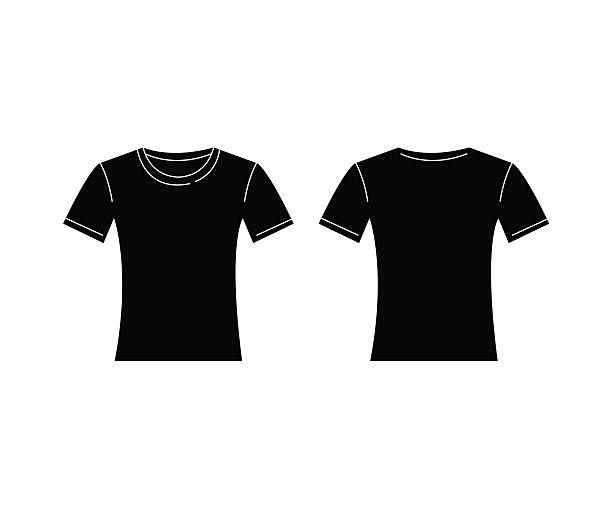 Vector Of Women Black Tshirt Template Front And Back Stock Vector ...