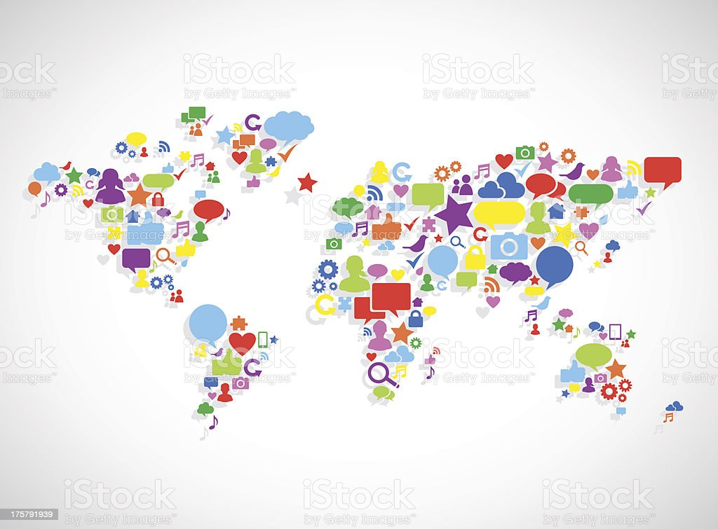 Vector of world map with social media icons set stock vector art vector of world map with social media icons set royalty free vector of world map gumiabroncs Image collections