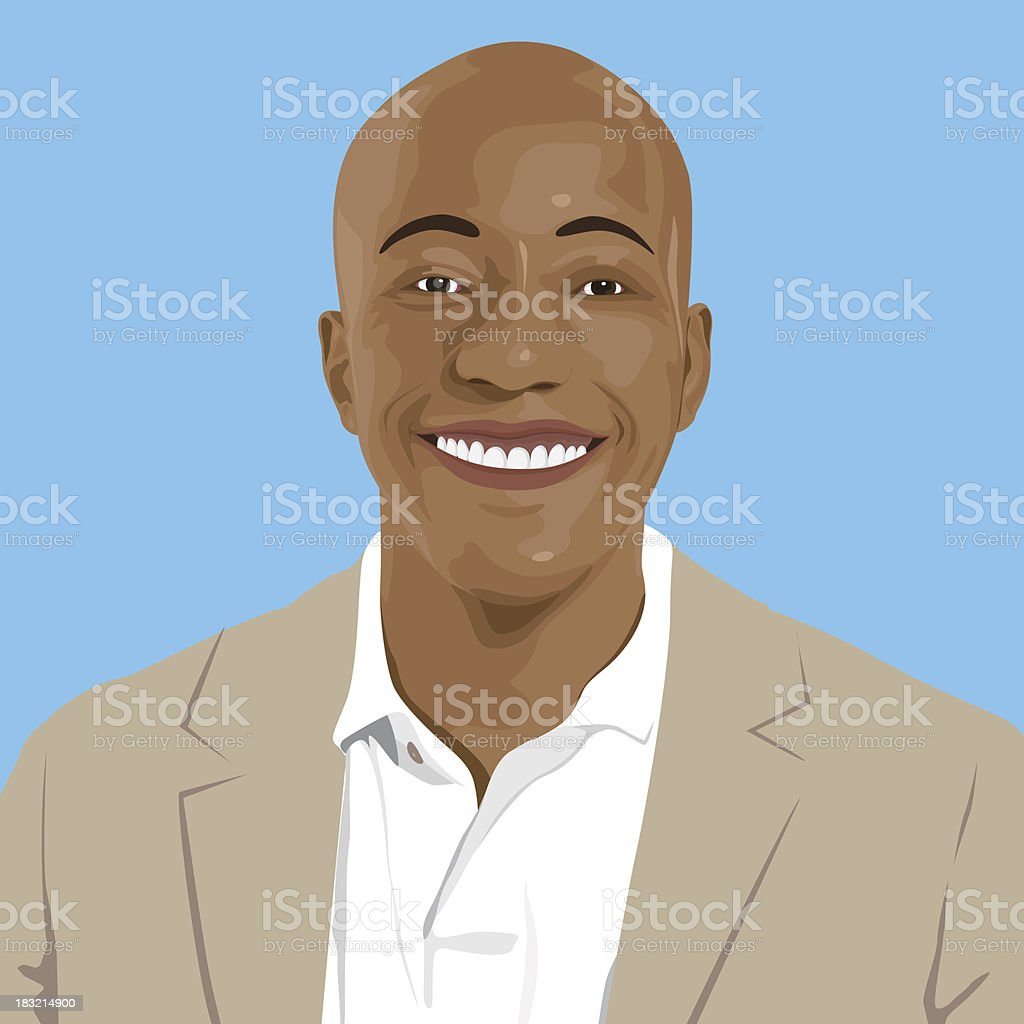 Vector of Young African Descent Portrait vector art illustration