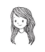 Vector of Young cute girl with long-haired