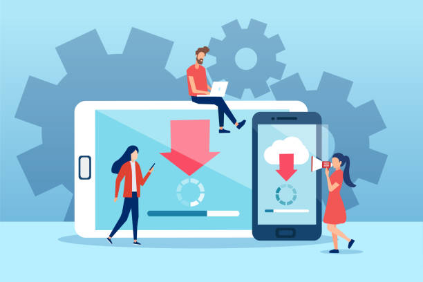 Vector of young people making system software updates on mobile gadgets Vector of young people making system software updates on mobile gadgets software update stock illustrations