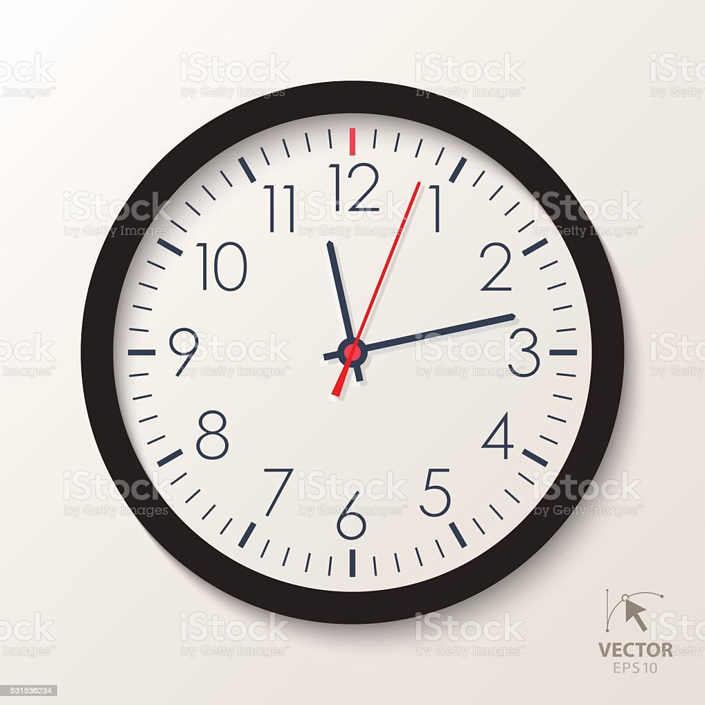 Vector office clock. Classic watch isolated on white background vector art illustration