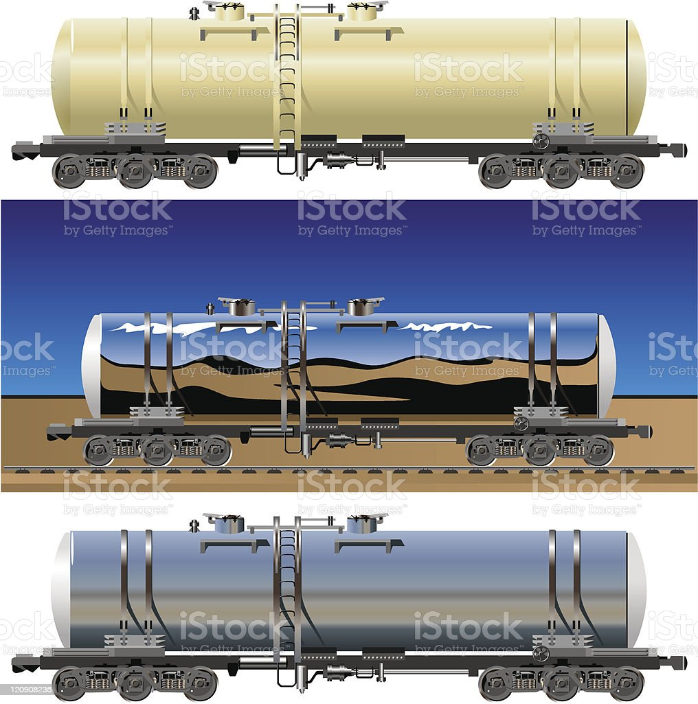 vector oil / gasoline tanker cars royalty-free stock vector art