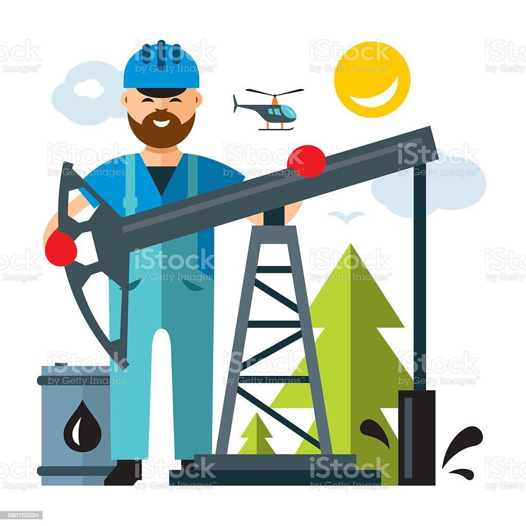 Vector Oil Industry. Flat style colorful Cartoon illustration. vector art illustration