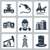 Vector oil industry icons set