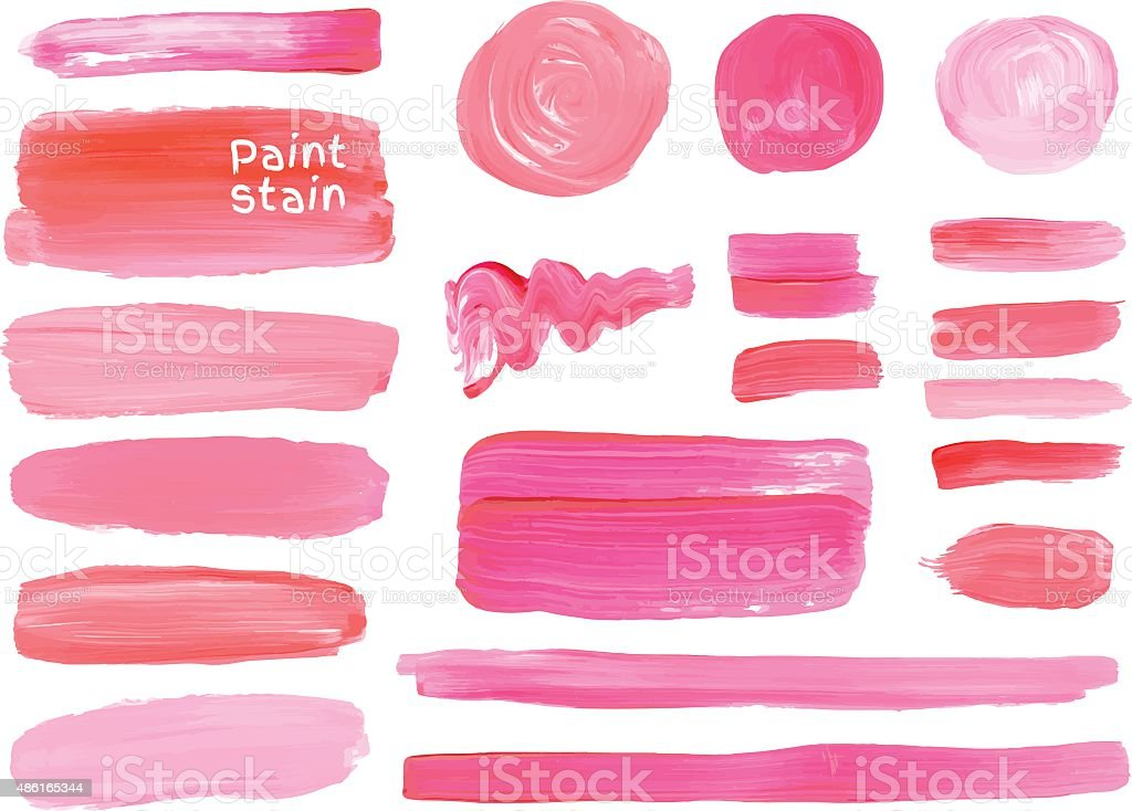 Vector oil paint texture stains set. Make up colors. vector art illustration
