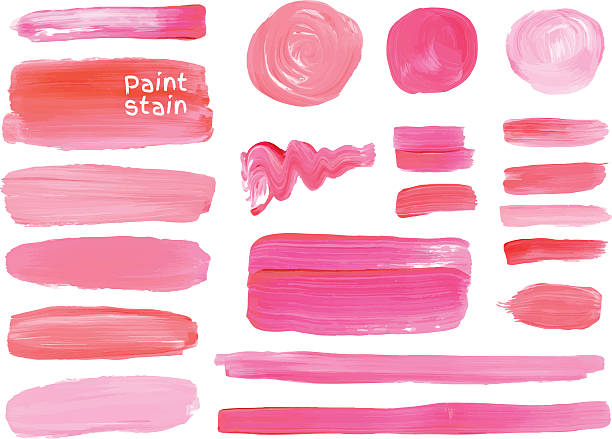 vector oil paint texture stains set. make up colors. - make up stock illustrations