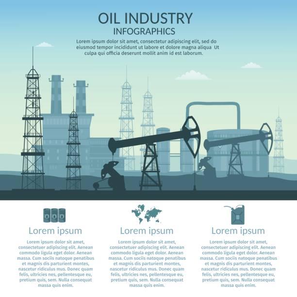 ilustraciones, imágenes clip art, dibujos animados e iconos de stock de industria de plataforma de petróleo vector de procesamiento infografía gasolina y transporte set elementos de producción. - infografías de industria